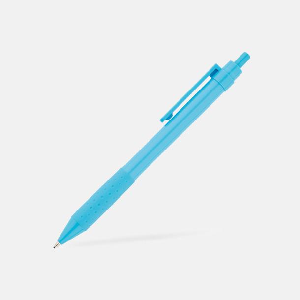 Blå Färgglada plastpennor med reklamtryck