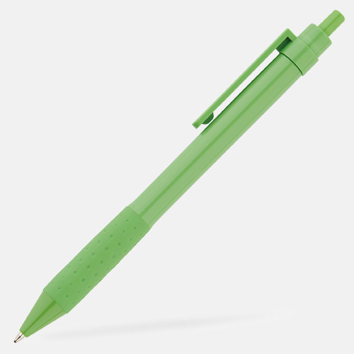 Grön Färgglada plastpennor med reklamtryck