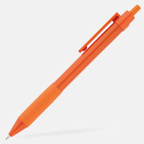 Orange Färgglada plastpennor med reklamtryck