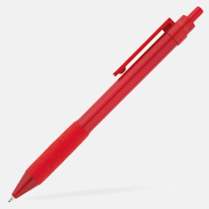 Röd Färgglada plastpennor med reklamtryck