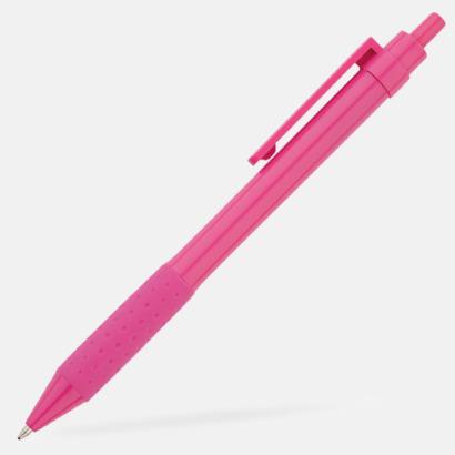 Rosa Färgglada plastpennor med reklamtryck