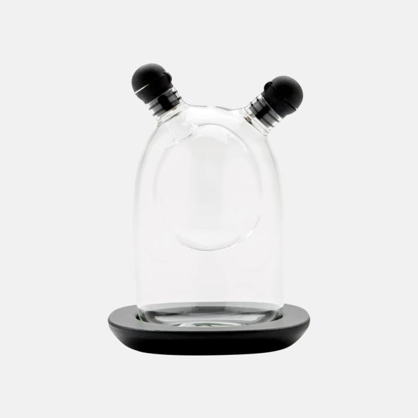 Transparent / Svart Fina glasflaskor för vinäger & olja - med reklamtryck