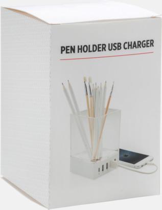 Presentförpackning USB-laddare & pennhållare med reklamtryck
