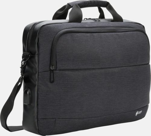 """Svart Modern 15"""" laptopväska med reklamtryck"""