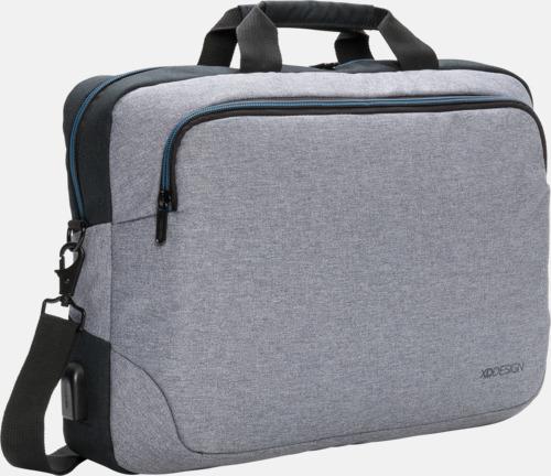 """Grå 15"""" laptopväskor med reklamtryck"""