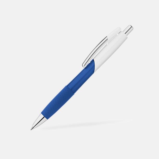 Blå / Vit Transparenta/solida pennor med reklam