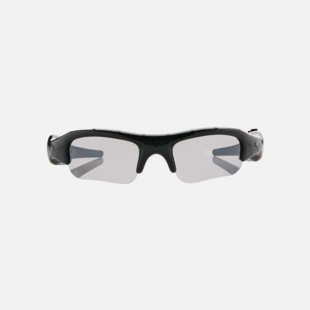 Svart Solglasögon med kamera med reklamtryck