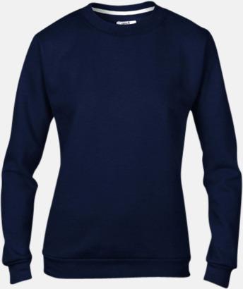 Marinblå (dam) Fleecetröjor med reklamtryck