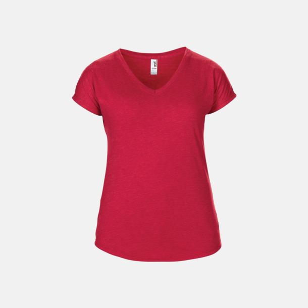Heather Red (dam) Spräckliga t-shirts med reklamtryck