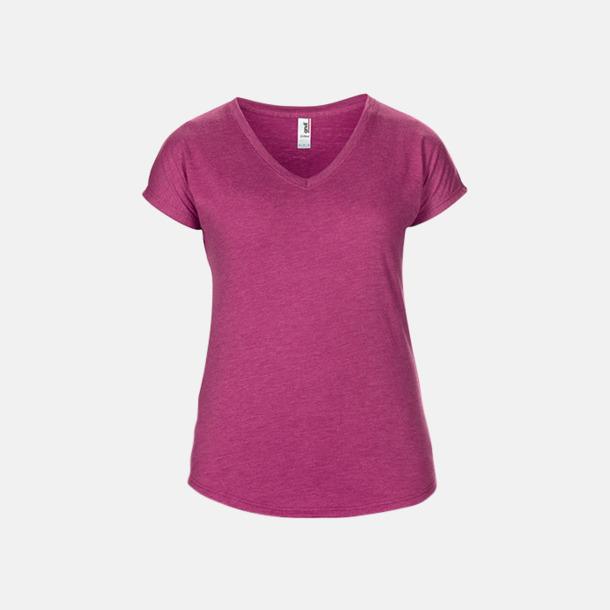 Heather Raspberry (dam) Spräckliga t-shirts med reklamtryck