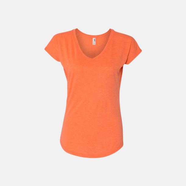 Heather Orange (dam) Spräckliga t-shirts med reklamtryck