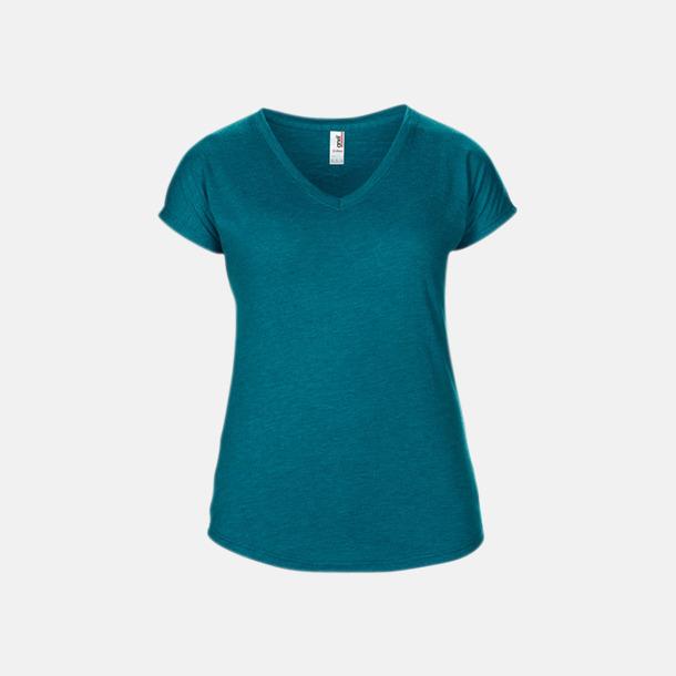 Heather Galapagos Blue (dam) Spräckliga t-shirts med reklamtryck