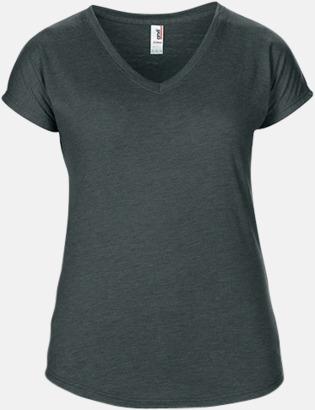 Heather Dark Grey (dam) Spräckliga t-shirts med reklamtryck