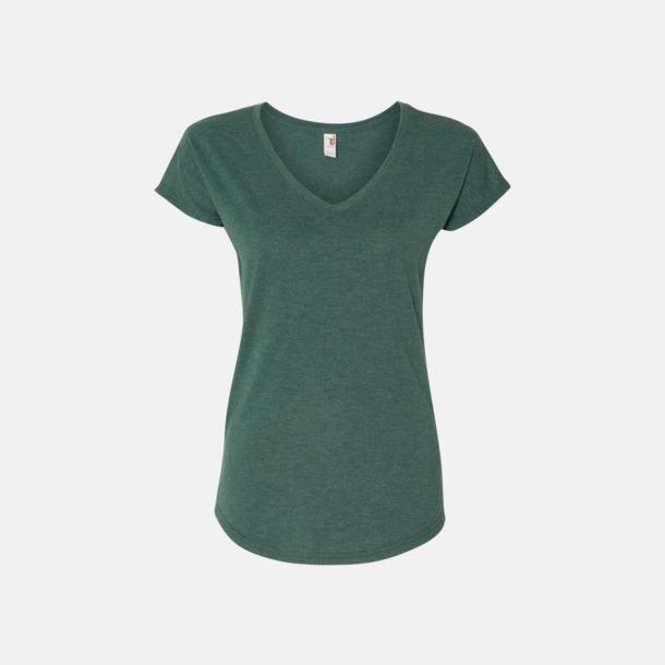 Heather Dark Green (dam) Spräckliga t-shirts med reklamtryck