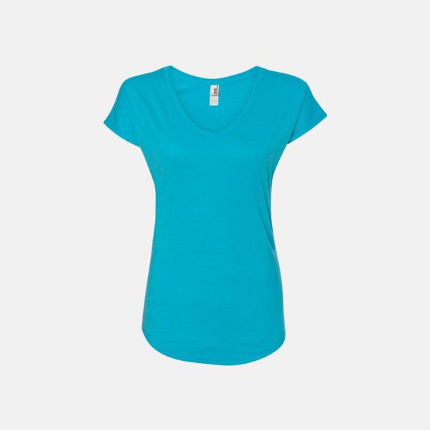 Heather Caribbean Blue (dam) Spräckliga t-shirts med reklamtryck