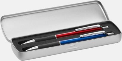 Metalletui 2 silver (öppen) Vita bläckpennor med färgade tryckknappar med reklamtryck