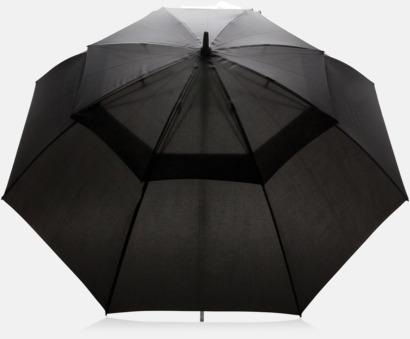 """Svart 30"""" stormparaplyer från Swiss Peak med reklamtryck"""