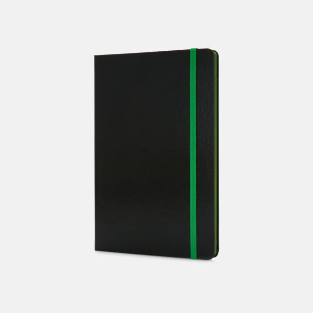 Grön/svart A5-böcker med färgade kantsidor med reklamtryck
