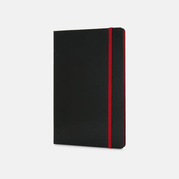 Röd/svart A5-böcker med färgade kantsidor med reklamtryck
