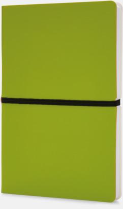 Limegrön Konstläder anteckningsböcker i A5 med eget reklamtryck
