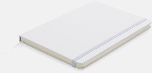 Vit A5-anteckningsböcker med LED-bokmärke - med reklamtryck