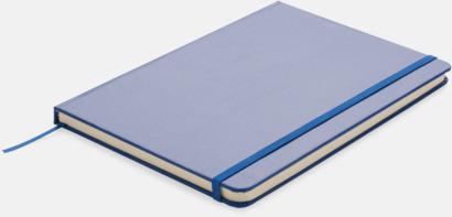 Blå A5-anteckningsböcker med LED-bokmärke - med reklamtryck