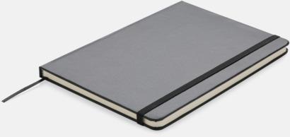 Svart A5-anteckningsböcker med LED-bokmärke - med reklamtryck