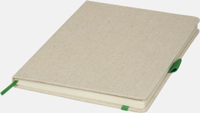 Natur / Grön A5-böcker med omslag i bomull med reklamtryck