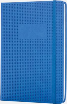 Blå A5-konstläder anteckningsböcker med reklamtryck