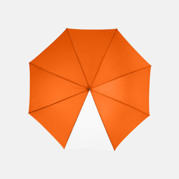 """Orange / Vit 23"""" kontrastparaplyer med reklamtryck"""