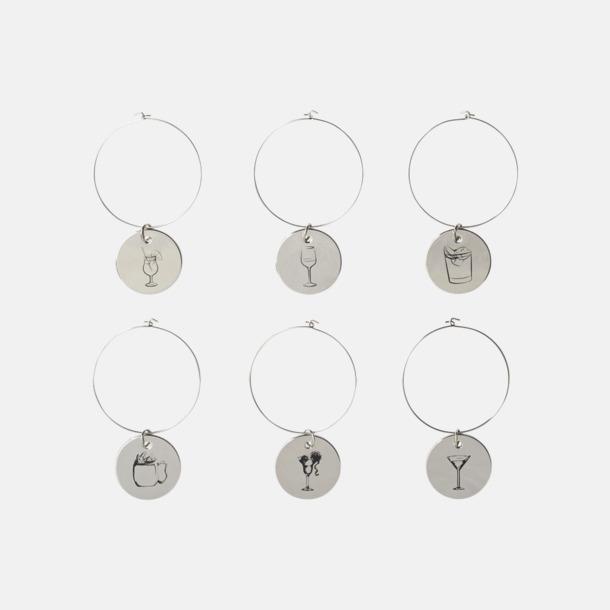 Silver 6 glasmarkörer med förvaring med reklamtryck