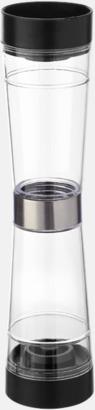 Transparent/Svart/Silver Duokvarn för salt och peppar - med reklamtryck