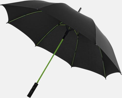 Svart / Limegrön Färgade stormparaplyer med reklamtryck