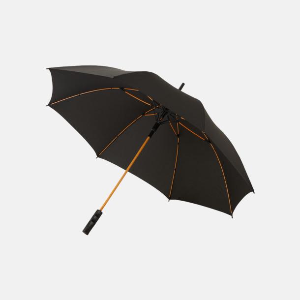 Svart / Orange Färgade stormparaplyer med reklamtryck