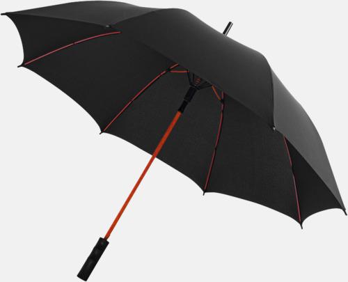 Svart / Röd Färgade stormparaplyer med reklamtryck