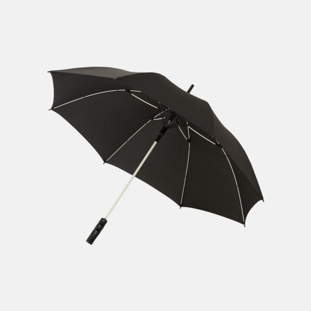 Svart / Vit Färgade stormparaplyer med reklamtryck