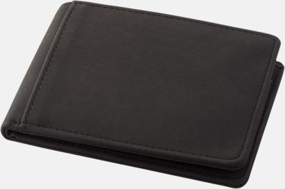 Svart RFID-plånböcker i konstläder med reklamtryck