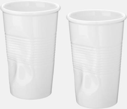 Vit 2-set keramikmuggar med reklamtryck