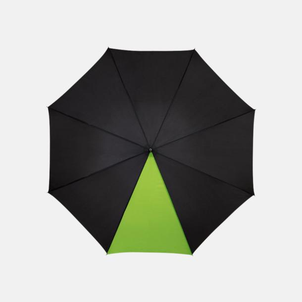 "Svart / Limegrön 23"" mörka kontrastparaplyer med reklamtryck"