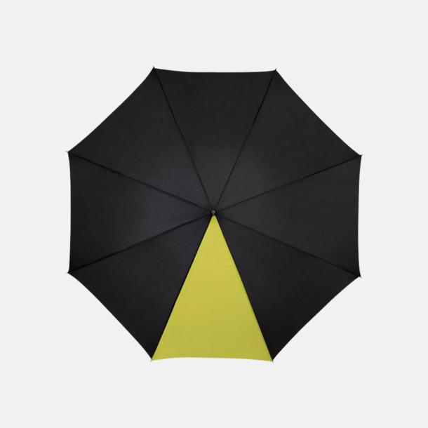 """Svart/Neongrön 23"""" mörka kontrastparaplyer med reklamtryck"""