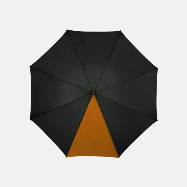 "Svart / Orange 23"" mörka kontrastparaplyer med reklamtryck"