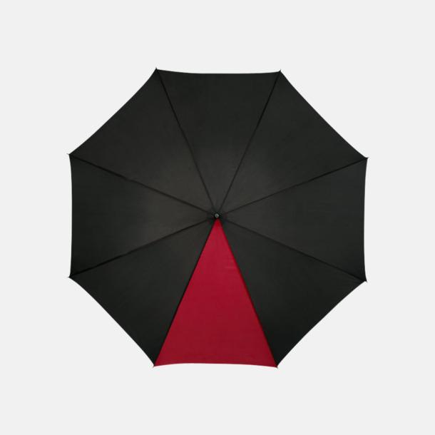 "Svart / Röd 23"" mörka kontrastparaplyer med reklamtryck"