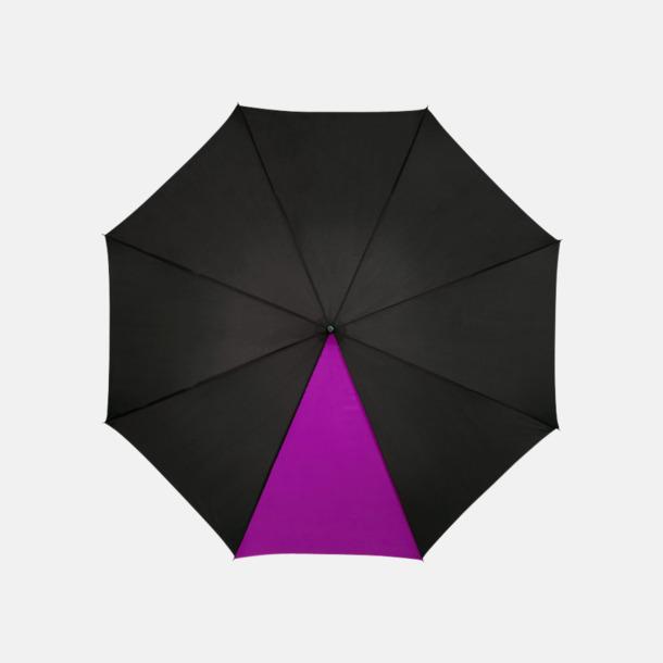 """Svart / Magenta 23"""" mörka kontrastparaplyer med reklamtryck"""