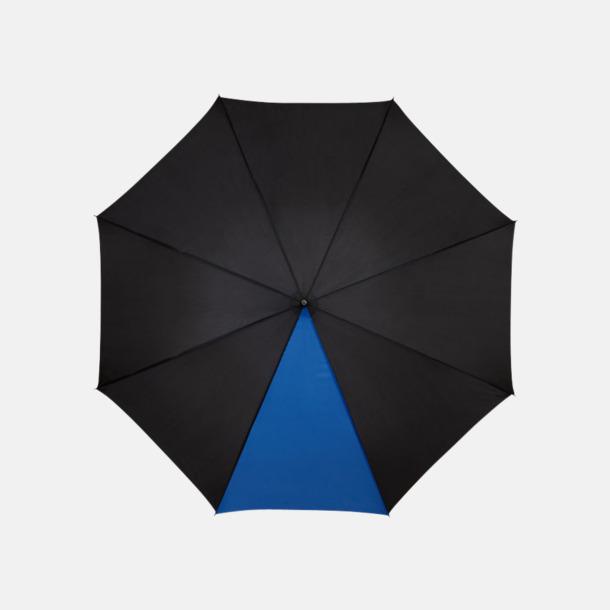 "Svart/Process Blue 23"" mörka kontrastparaplyer med reklamtryck"