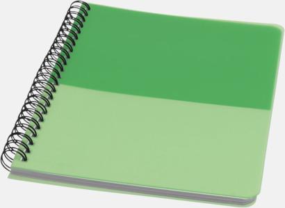 Grön A6 & A5 spiral anteckningsböcker med reklamtryck