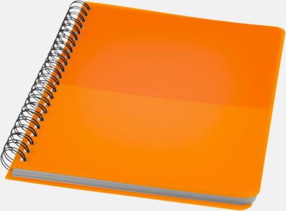 Orange A6 & A5 spiral anteckningsböcker med reklamtryck