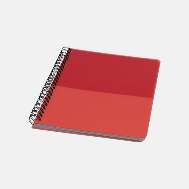 Röd A6 & A5 spiral anteckningsböcker med reklamtryck