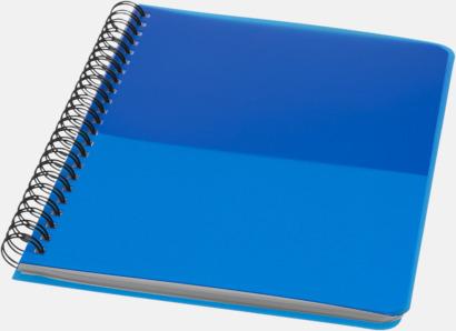 Blå A6 & A5 spiral anteckningsböcker med reklamtryck