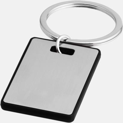 Silver / Svart Kvadratiska nyckelringar med reklamtryck