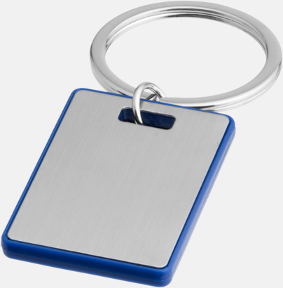 Silver/Royal Kvadratiska nyckelringar med reklamtryck